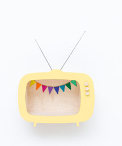tv shelf yellow