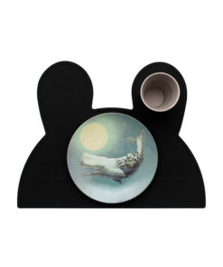 kids placemat pure black bunny